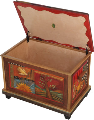 Chest with Leather Top –  Cozy chest with leather top with nature and bird motif