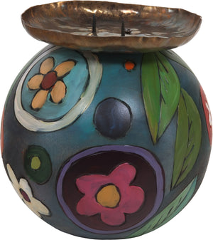 Ball Candle Holder –  Elegant and color rich candle holder with floral motifs