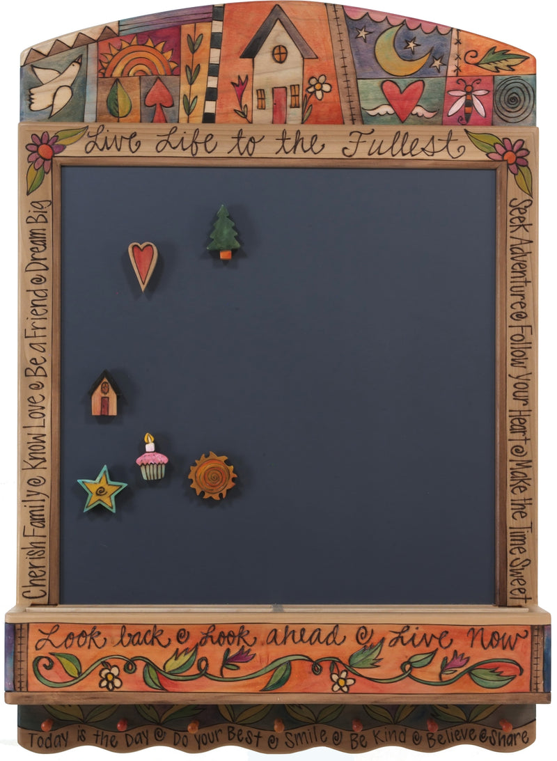 "Info Center –  ""Look Back/Look Ahead/Live Now"" activity board with sun, moon and home motif"