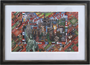 "Framed WWLA NYC Lithograph –  ""What We Love About New York City"" litho print in a handcrafted Sticks frame"