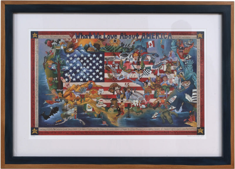 Framed WWLA America Lithograph –  Beautiful litho print honoring the USA in a custom Sticks frame
