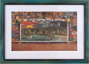 "Framed WWLA Chicago Lithograph –  ""What We Love About Chicago"" litho print in a handcrafted Sticks frame"