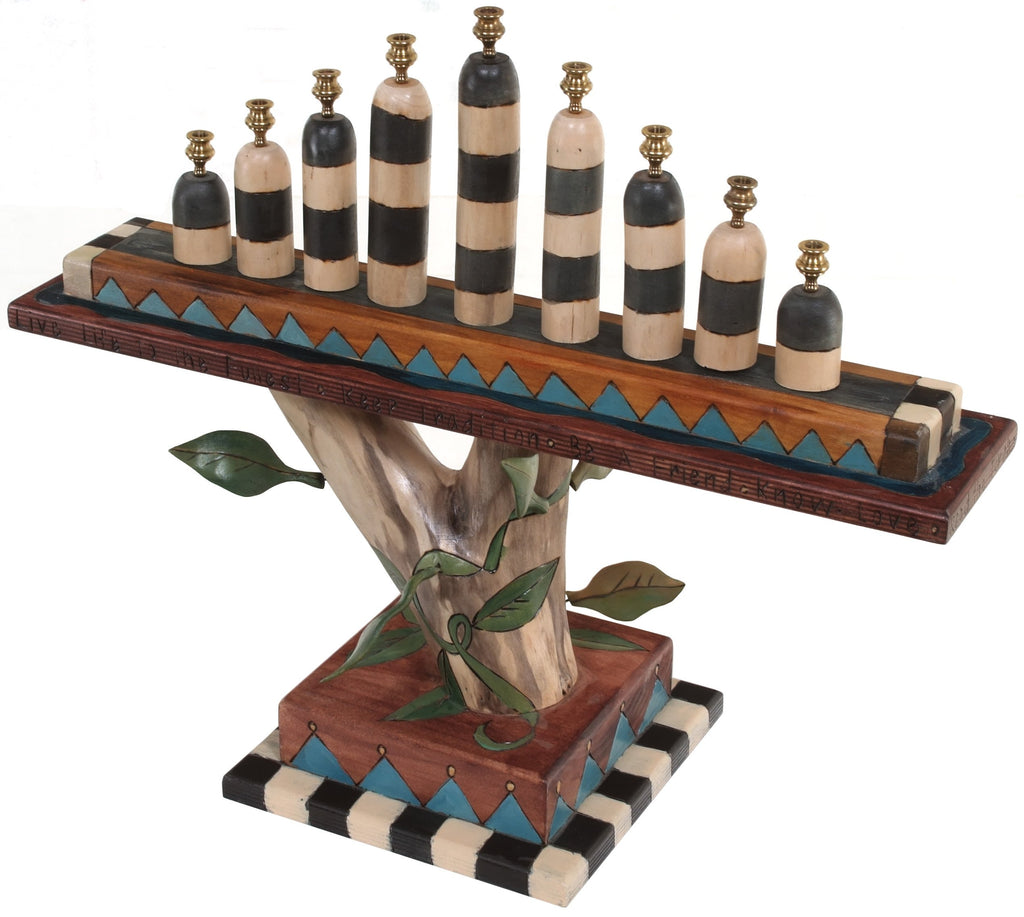 Log Menorah –  Handsome birch menorah with vine elements