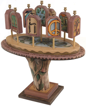 Tablet Menorah –  Lovely 3D folk art menorah