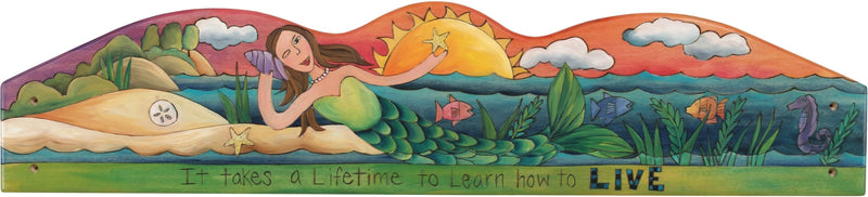 "Door Topper –  ""It takes a lifetime to learn how to Live"" mermaid and beach door topper"