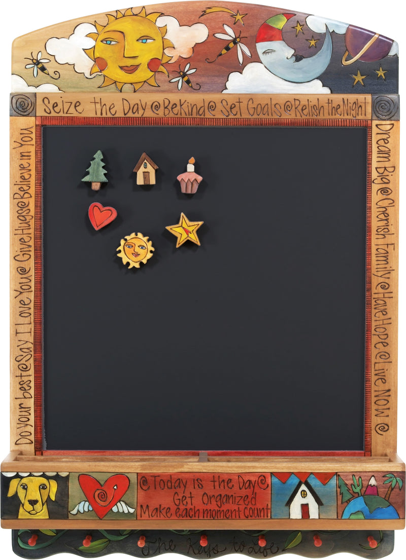 "Info Center –  ""Seize the Day/Relish the Night"" activity board with bright sun and sleepy moon motif"