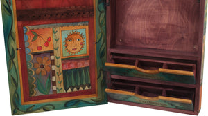 "Jewelry Cabinet –  ""You are the Fairest"" jewelry cabinet with colorful sun and moon motif"