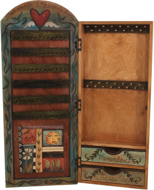 "Jewelry Cabinet –  ""Memories"" jewelry cabinet with beautiful flower and vine motif"