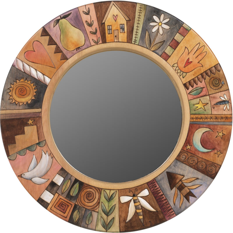 Small Circle Mirror –  Circle mirror with natural color palette and sun, moon and flower motif