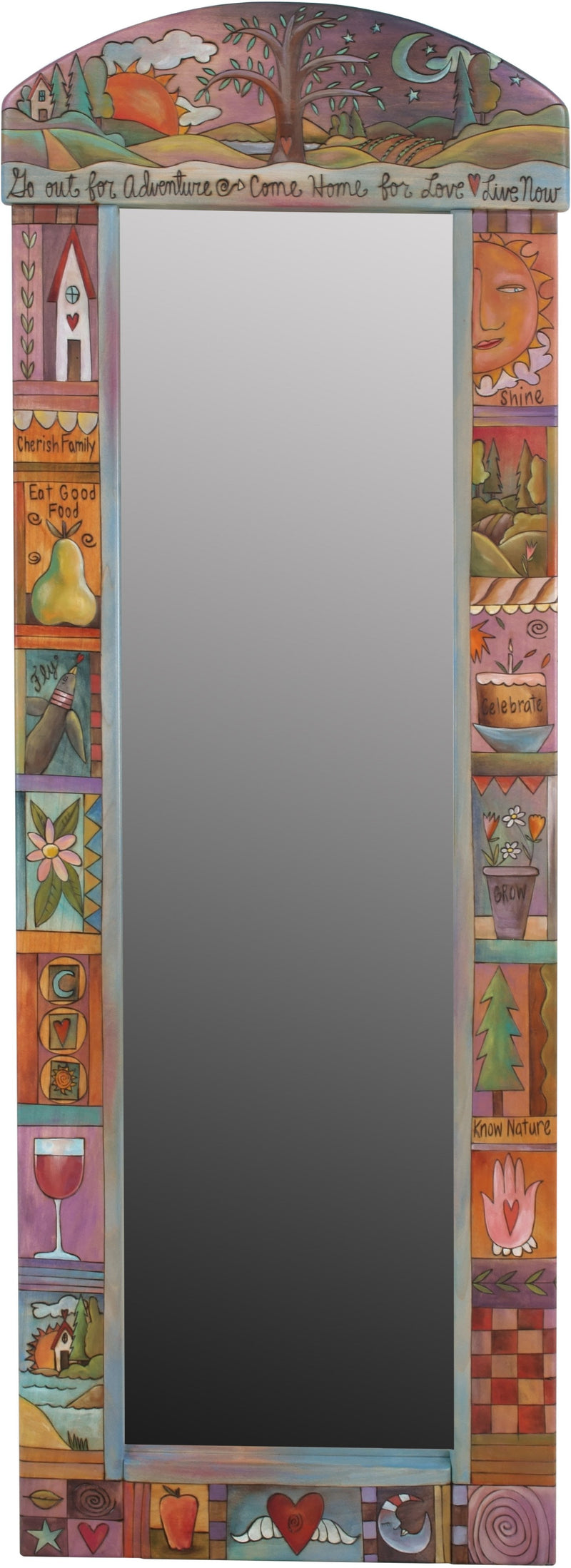 "Wardrobe Mirror –  ""Go Out for Adventure/Come Home for Love"" mirror with sun and moon over tree of life motif"