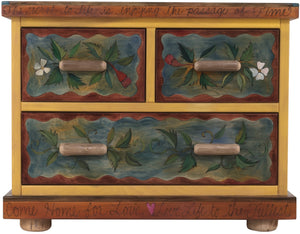 Small Dresser –  Beautiful dresser with tree of life motif and rosy pastel hues