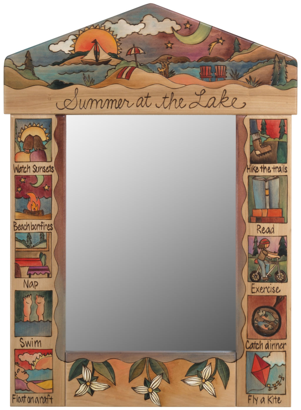 "Medium Mirror –  ""Summer at the lake"" mirror with a beach landscape motif and boxed themed icons"
