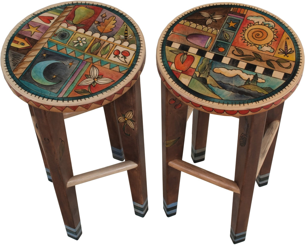 Round Stool Set –  Matching stools with colorful block icons and patterns