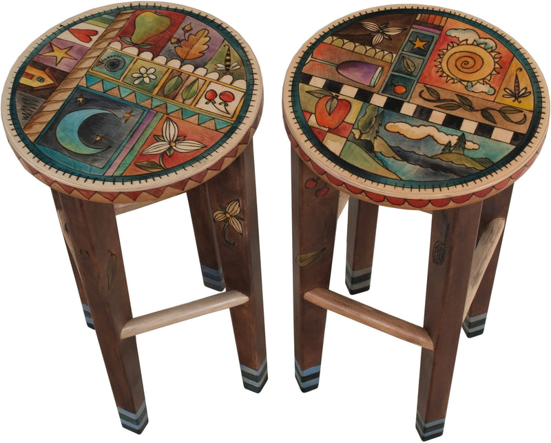 Sticks handmade round stool set