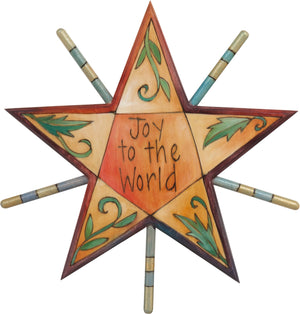 "Tree Star –  ""Joy to the world"" star motif with leaf and vine sprig accents"