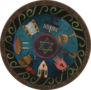 "Sticks Handmade 20""D lazy susan with Star of David and Judaica imagery"