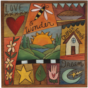 "Sticks handmade wall plaque with ""Love, Wonder, Cherish Family and Dream"" quotes and colorful life icons"