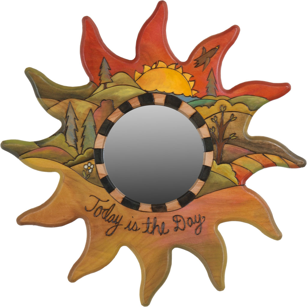 "Sun Shaped Mirror –  ""Today is the Day"" sun-shaped mirror with sunset over the rolling hills motif"