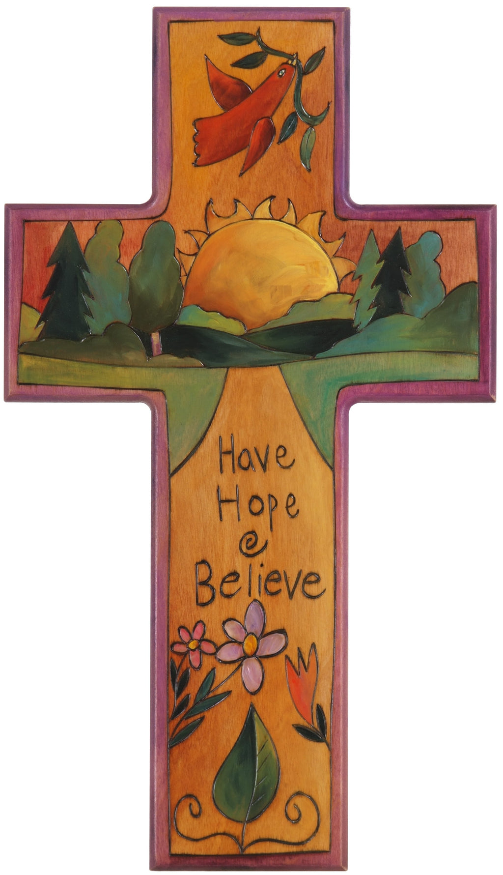 Cross Plaque –  Have Hope and Believe cross plaque with sunset on the horizon motif