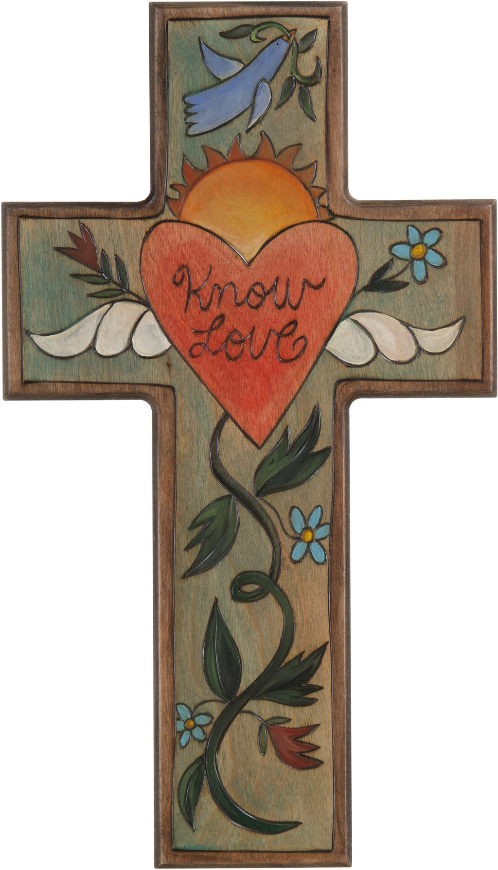Cross Plaque –  Know Love cross plaque with heart and floral motif