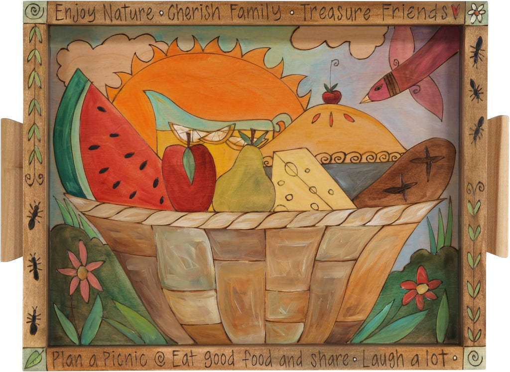 Small Rectangular Tray –  Lovely tray with picnic motif and flowering sunrise landscape