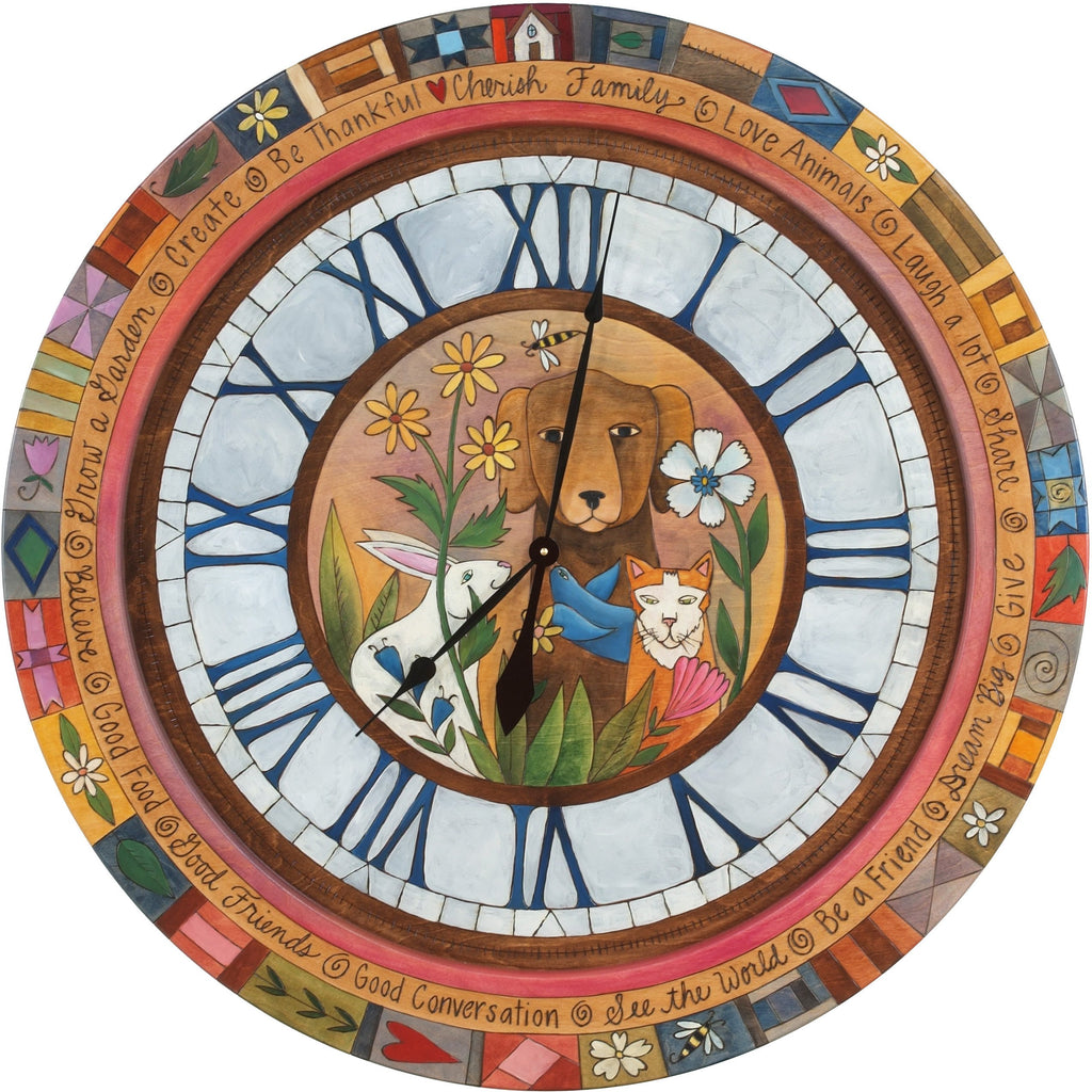 "Sticks handmade 36""D wall clock with roman numerals and whimsical animals"