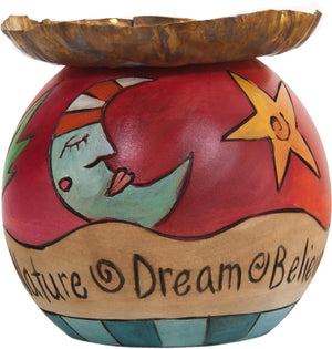 Ball Candle Holder –  Sun and moon and inspirational phrases encircle this candle base
