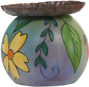 Ball Candle Holder –  Candle holder with hand painted flower motifs