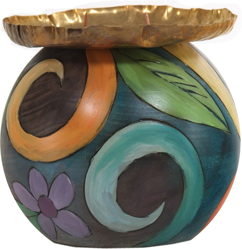 Ball Candle Holder –  Elegant hand painted candle base with floral and spiral motifs