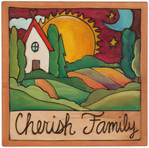 "7""x7"" Plaque –  ""Cherish family"" with a farm landscape and home motif"