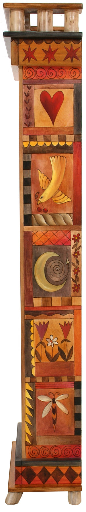 Tall Bookcase –  Warm and elegant folk art bookcase with block icon motifs