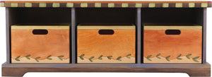 Storage Bench with Boxes –  Playfully colorful storage bench with matching boxes and block icon motif