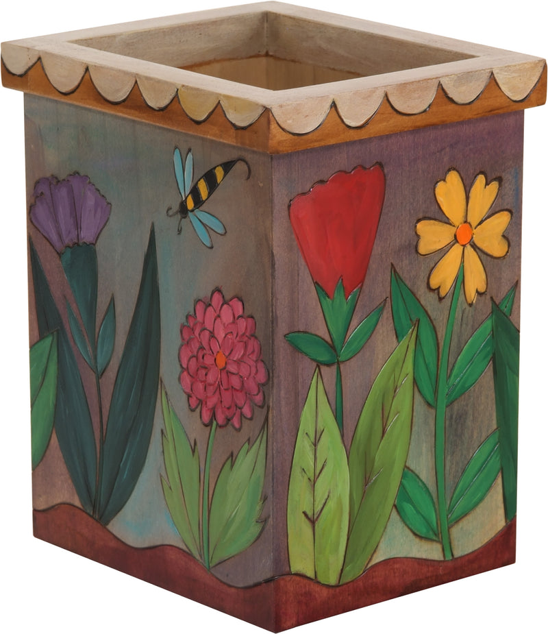 Vase/Utensil Box – Lovely floral box design with a cute scalloped edge