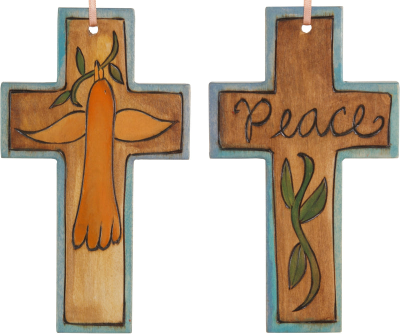 Cross Ornament –  Peace cross ornament with bird and vine motif