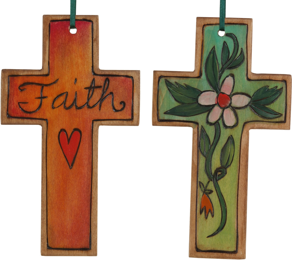 Cross Ornament –  Faith cross ornament with flower and vine motif