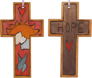 Cross Ornament –  Hope cross ornament with sunset and bird motif
