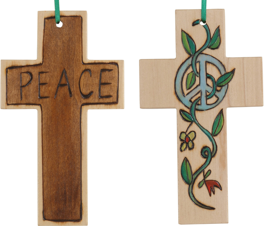 Cross Ornament –  Peace cross ornament with peace sign and vine motif