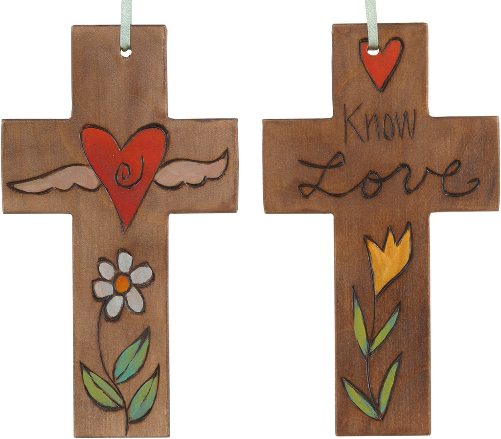 Cross Ornament –  Know Love cross ornament with heart and flower motif