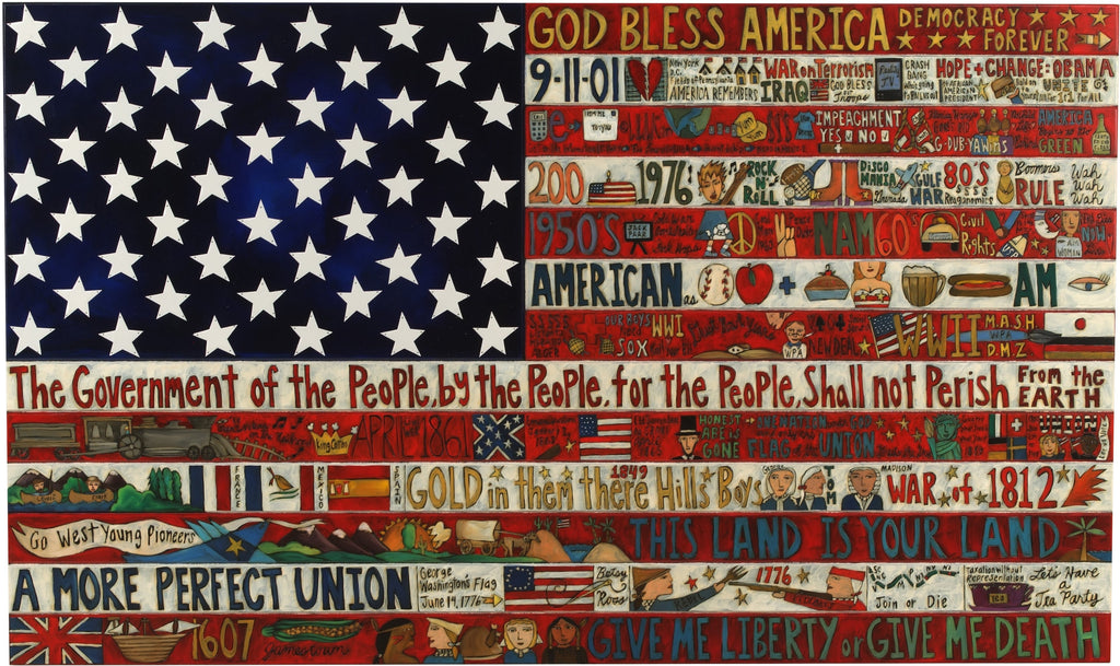 American Flag Plaque 2010 Edition –  Original plaque, large and hand crafted with American motifs to honor the United States
