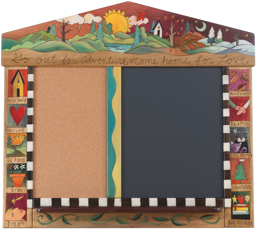 "Medium Activity Board –  ""Go out for Adventure/Come Home for Love"" activity board with scene of the changing seasons motif"