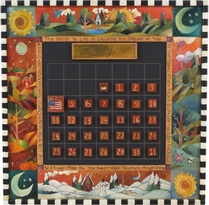 "Large Perpetual Calendar –  ""The Secret to Life is Enjoying the Passage of Time"" perpetual calendar with scenes from the four seasons motif"