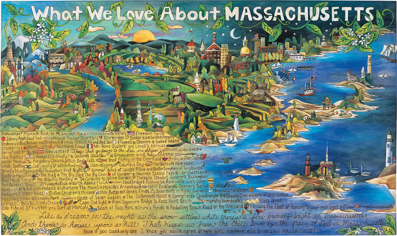 "WWLA Massachusetts Lithograph –  ""What We Love About Massachusetts"" lithograph with beautiful scenes of Massachusetts motif"