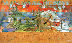 "WWLA Michigan Lithograph –  ""What We Love About Michigan"" lithograph with beautiful scenes of Michigan through the four seasons motif"