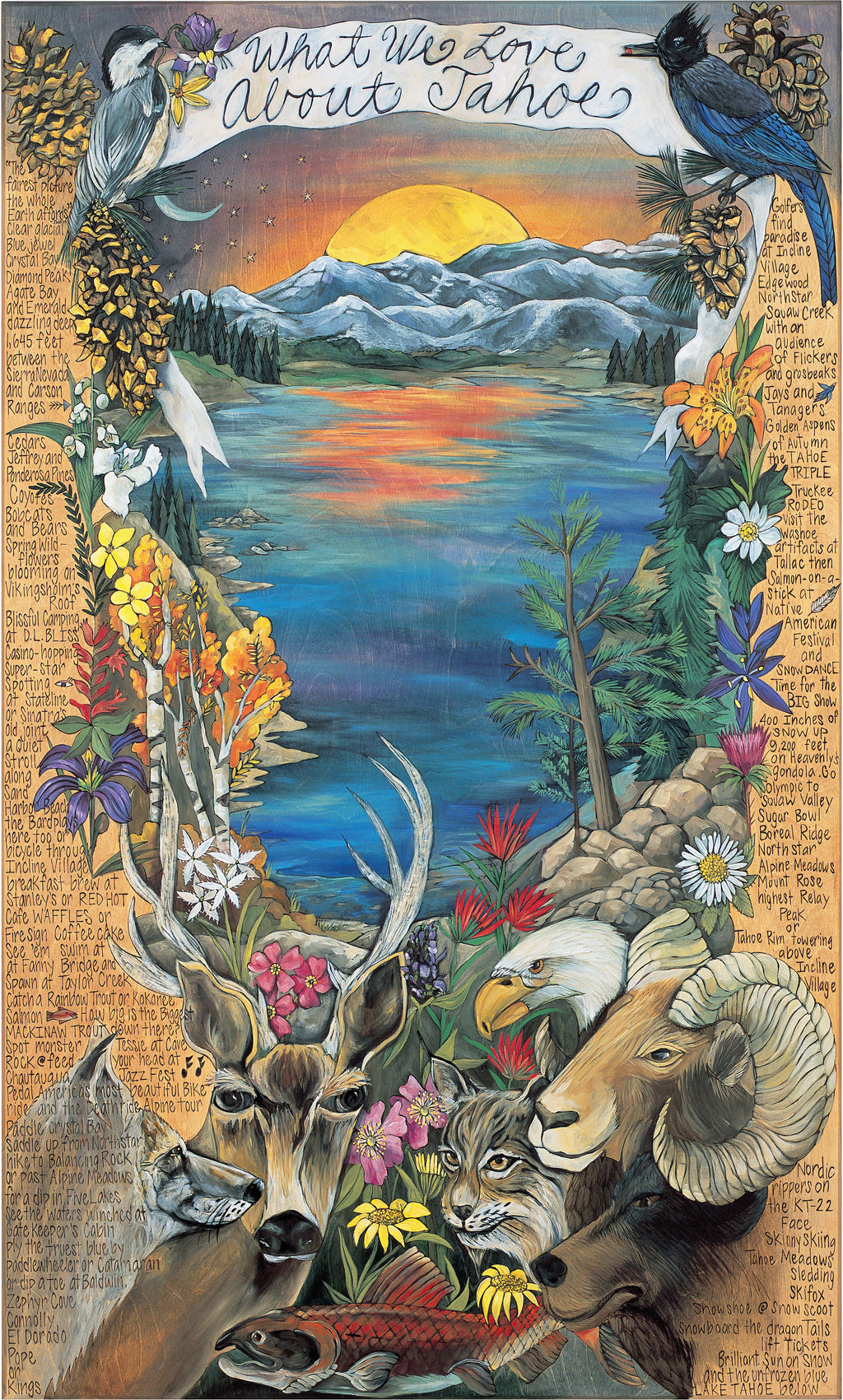 "WWLA Tahoe Lithograph –  ""What We Love About Tahoe"" lithograph with warm sun setting over the lake motif"
