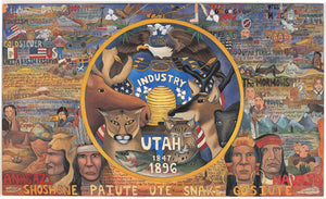 Utah Flag Lithograph –  Ornate and intricate litho print honoring the state and flag of Utah