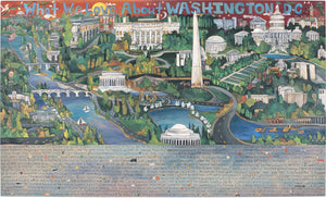 "WWLA Washington DC Lithograph –  ""What We Love About Washington DC"" lithograph with beautiful scenes of the National Mall motif"