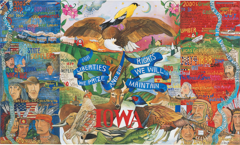 "Iowa Flag Plaque –  ""Our Liberties We Prize and our Rights we will Maintain"" plaque with state of Iowa flag motif"