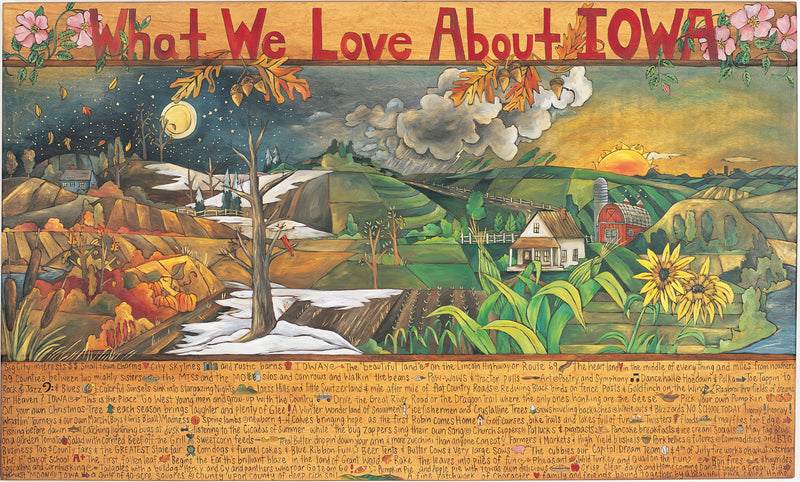 "WWLA Iowa Plaque 2003 Edition –  ""What We Love About Iowa"" plaque with sun and moon over scenes of the changing four seasons motif"