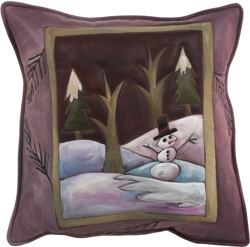 Leather Pillow –  Holiday pillow with snowman and winter scene