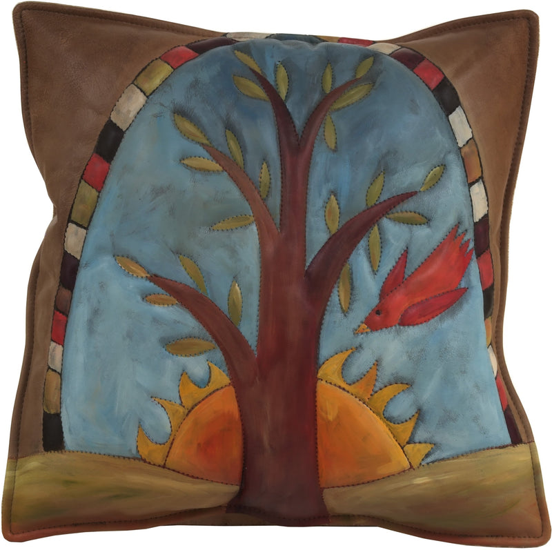 Leather Pillow –  Hand painted tree of life pillow with sunrise